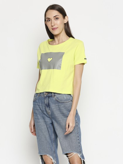 Product Image for Round Neon Green Neck Crop T-shirt With Print