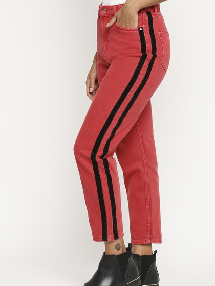Product Image for Valancia Red Color Mom Jeans