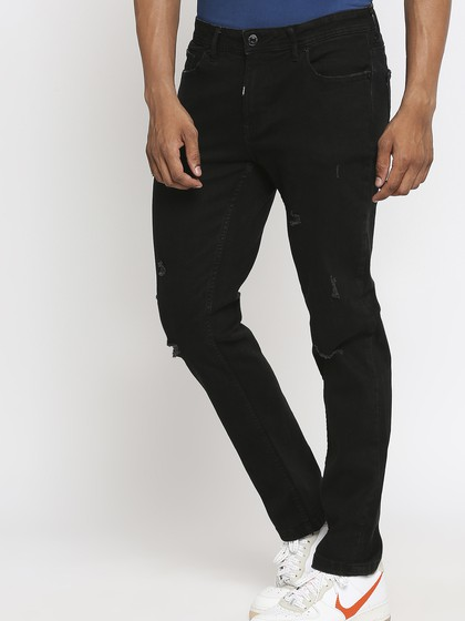 Product Image for WILLIS BLACK SLIM STRAIGHT FIT KNEE CUT JEANS