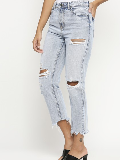 Product Image for Valancia Light Blue Distressed Mom Fit Jeans