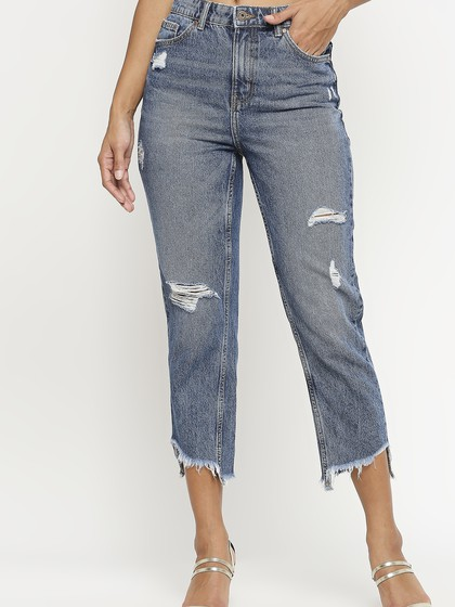 Product Image for Valancia Mid Blue Distressed Mom Fit Jeans