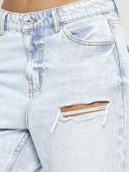 Product Image for Valancia Super Light Blue Distressed Mom Fit Jeans