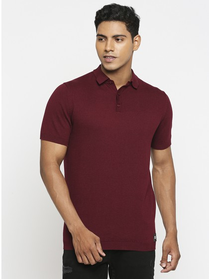 Product Image for Wine Basic Polo Neck Short Sleeve Knitted T-Shirt