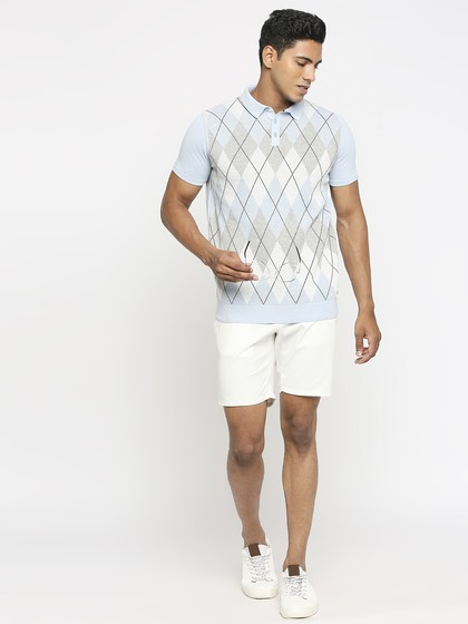 Product Image for Sky Blue Polo Neck Short Sleeve Knitted T-Shirt
