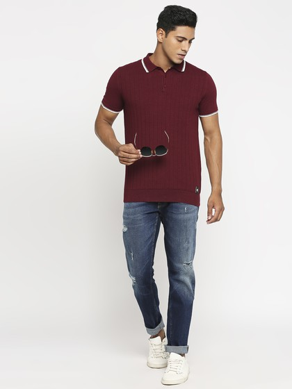 Product Image for Wine Polo Neck Short Sleeve Knitted T-Shirt