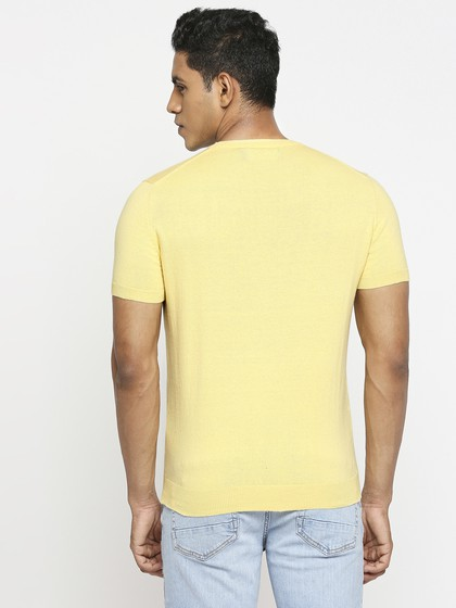 Product Image for Yellow Basic Crew Neck Short Sleeve Knitted T-Shirt