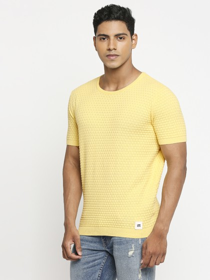 Product Image for Yellow Crew Neck Short Sleeve Knitted T-Shirt