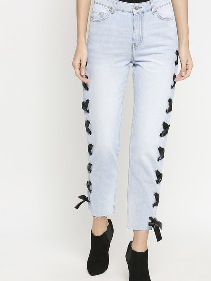 Product Image for Valancia Super Light Blue Mom Jeans With Side Eyelet Tape
