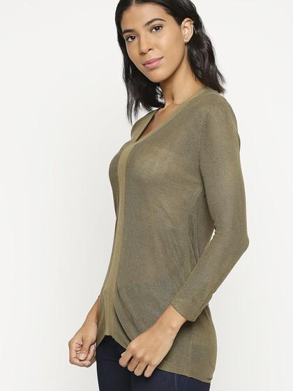 Product Image for V Neck Khaki Long Sleeve Knitted T-Shirt