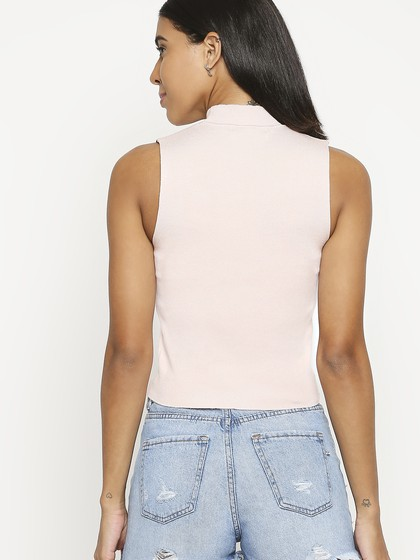 Product Image for Crew Neck Pink Sleeve Less Knitted Top