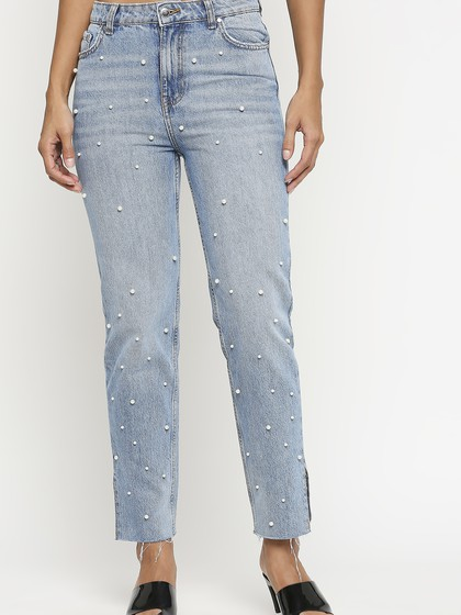 Product Image for Valancia Mid Blue Mom Jeans With Pearl