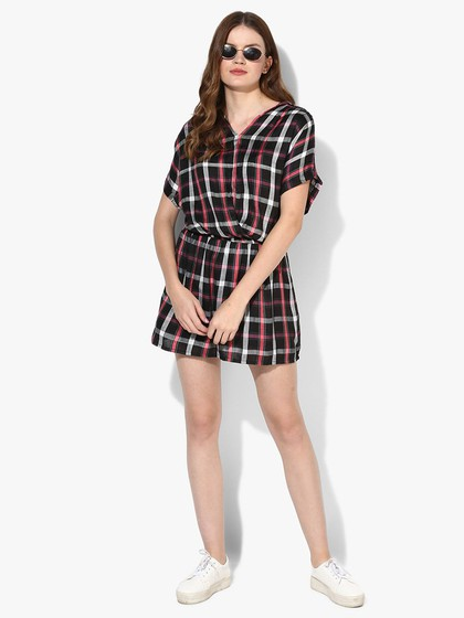 Product Image for Black & Pink Checks Short Sleeve Dress With Cowl Neck And Elasticated Drop Waist