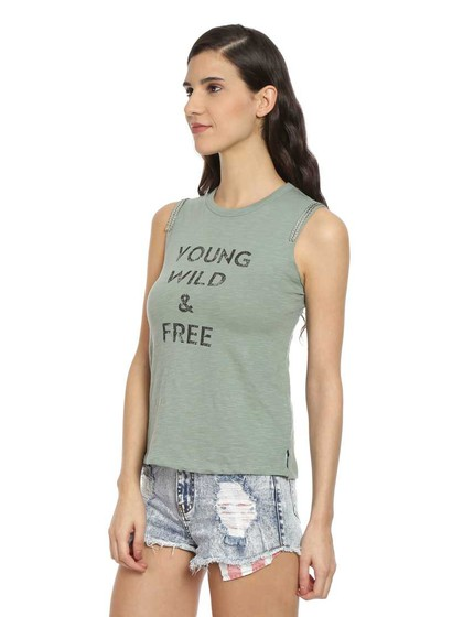 Product Image for Green Printed Knit Jersey Top