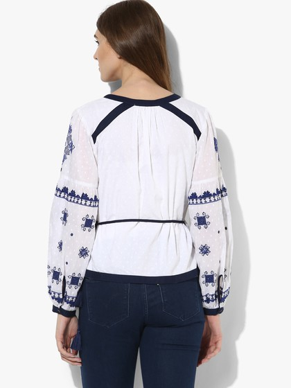 Product Image for White Embroidered Cotton Dobby Wrap Top