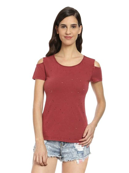 Product Image for Maroon Cotton Cold Shoulder Top With Holes