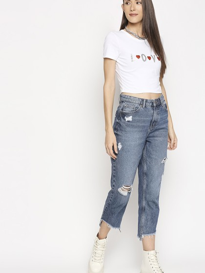 Product Image for White Round neck T-Shirt Short Sleve Fitted Crop T-Shirt With Print