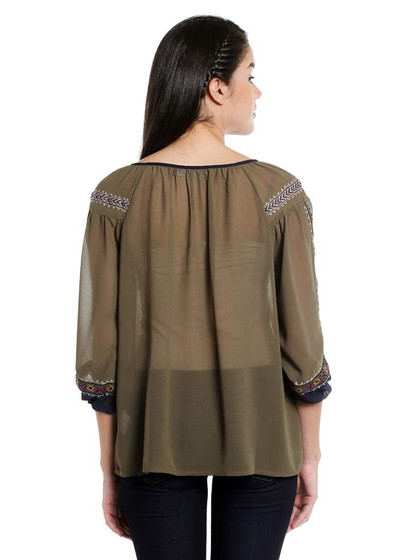 Product Image for Olive Embroidered Woven Polyester Peasant Top