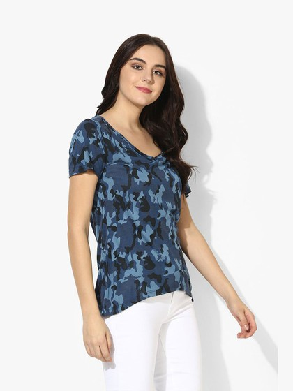 Product Image for Blue Viscose Jersey  Camo T-Shirt