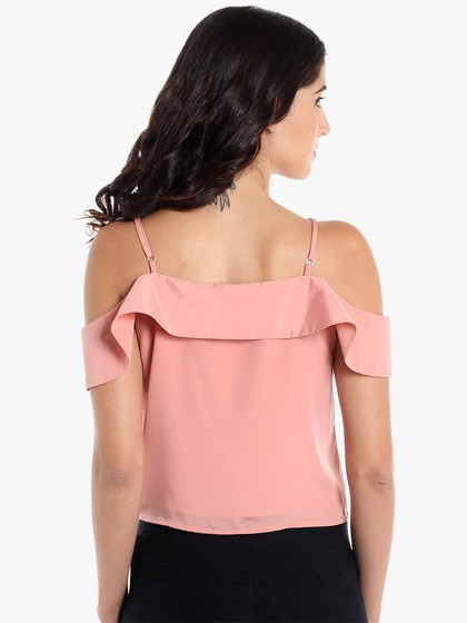 Product Image for Dull Rose Poly Satin Crop Top