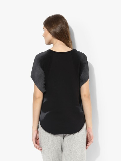 Product Image for Grey Washed Rib Print T-shirt With Raw Edge Sleeves