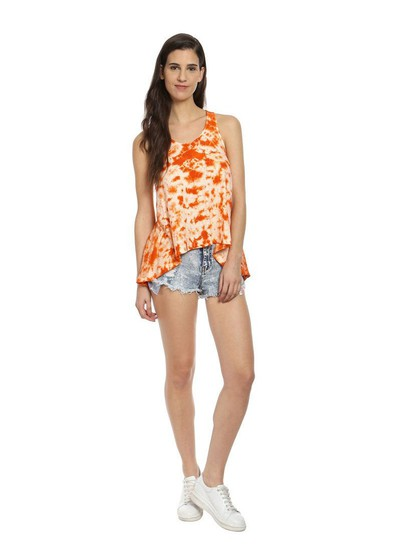 Product Image for Orange & White Cotton Knit Tie-Dye Racer Back Top