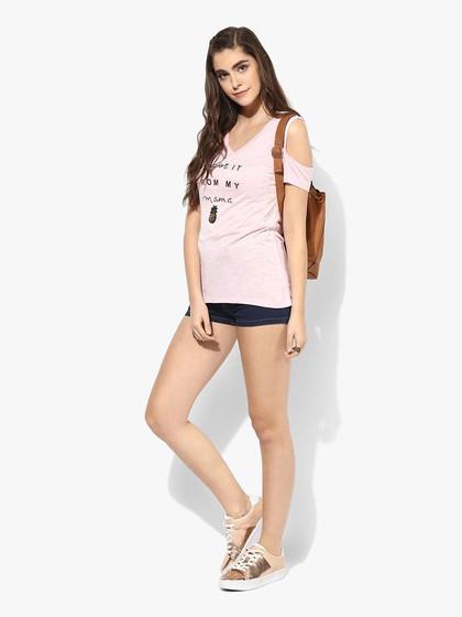 Product Image for Pink Viscose Slub Jersey Cold Shoulder Tee