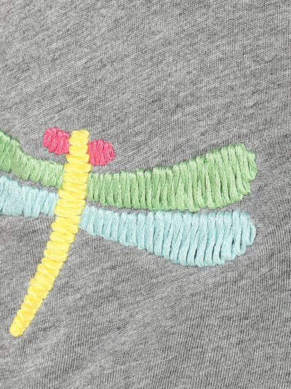 Product Image for V Neck T-shirt With Dragon Fly Embroidery
