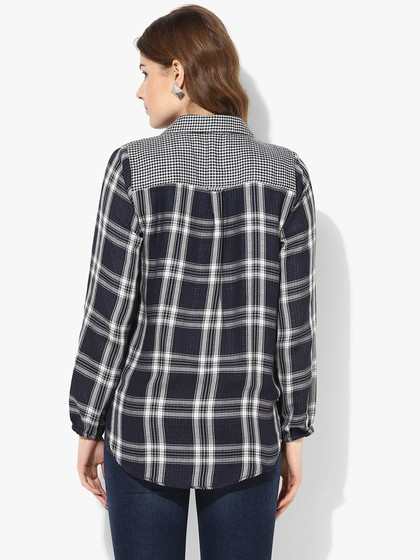Product Image for Wrap Check Shirt With Hi-Low Hemlines